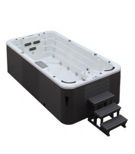 SWIM SPA - Venkovní vířivý bazének s protiproudem Pearl shadow/šedý kabinet 450x230x135